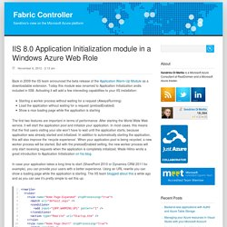IIS 8.0 Application Initialization module in a Windows Azure Web Role