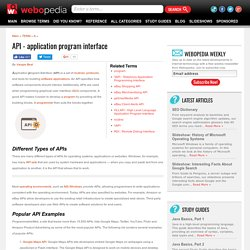 What is API - Application Program Interface? Webopedia