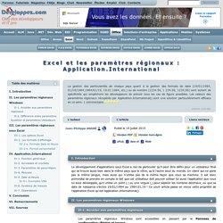 Excel et les paramètres régionaux : Application.International