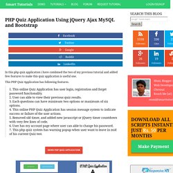 PHP Quiz Application Using jQuery Ajax MySQL and Bootstrap