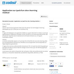 Projet et demande de devis application sur Ipad d'un site e learning medical
