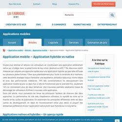 Application mobile - Application hybride vs native