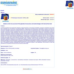 EFSA 16/05/11 Guidance on the risk assessment of the application of nanoscience and nanotechnologies in the food and feed chain