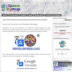 Application Android pour traduire des paragraphes sans Internet