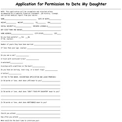 Application for Permission to Date My Daughter