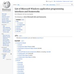 List of Microsoft Windows application programming interfaces and frameworks