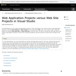 Web Application Projects versus Web Site Projects in Visual Studio