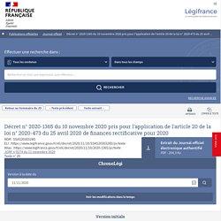 2020-1365 du 10 novembre 2020 pris pour l'application de l'article 20 de la loi n° 2020-473 du 25 avril 2020 de finances rectificative pour 2020 - Légifrance