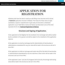 APPLICATION FOR REGISTRATION – Hamza and Hamza Law Associates