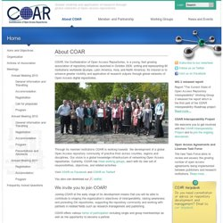 "COAR ě°˝€"" Greater visibility and application of research through global networks of Open Access repositories"
