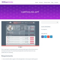 Carpooling Mobile Application for IPhone & Android, RORExpertsIndia