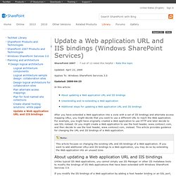 Update a Web application URL and IIS bindings (Windows SharePoint Services)