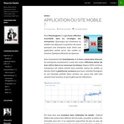 Application ou site mobile ?