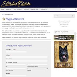 Puppy Application – Stardust Shiloh Shepherds