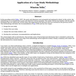 Application of a Case Study Methodology