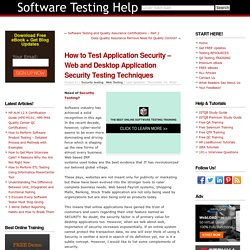 How to Test Application Security - Web and Desktop Application Security Testing Techniques