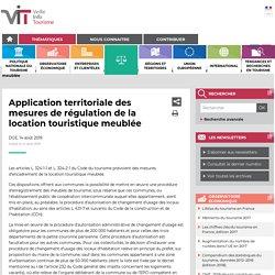 Application territoriale des mesures de régulation de la ...