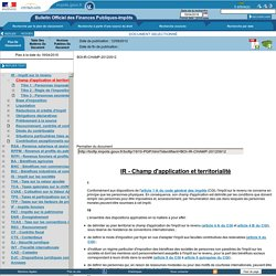 Champ d'application et territorialité