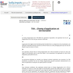 TVA - Champ d'application et territorialité