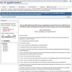 Décret n°2001-495 relatif à la transparence financière des aides octroyées par les personnes publiques