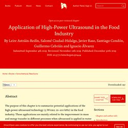 INTECH 30/12/19 Application of High-Power Ultrasound in the Food Industry