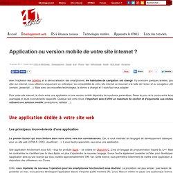 Application ou version mobile de votre site internet ?