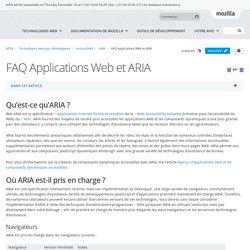 FAQ Applications Web et ARIA - Accessibilité