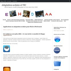 Applications en adaptation scolaire pour iPad et iPod touch