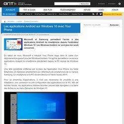 Les applications Android sur Windows 10 avec Your Phone