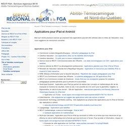 Applications pour iPad et Androïde - RÉCIT FGA ATNQ