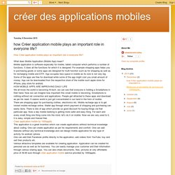 créer des applications mobiles: how Créer application mobile plays an important role in everyone life?