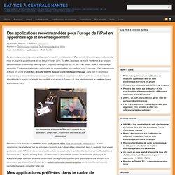 Des applications recommandées pour l'usage de l'iPad en apprentissage et en enseignement