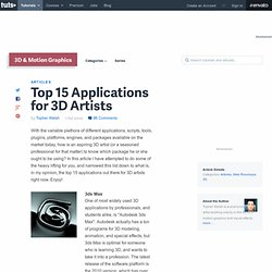 Top 15 Applications for 3D Artists