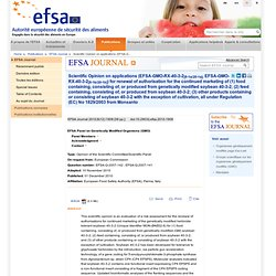 EFSA 01/12/10 Scientific opinion on applications GM soybean 40-3-2 for renewal of the authorisation of existing products