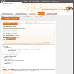 Web 2.0 : panorama des outils, des services et des applications pour les bibliothèques
