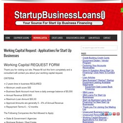 Working Capital Request – Applications For Start Up Businesses