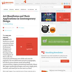 Art Manifestos and Their Applications in Contemporary Design - S