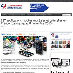 237 applications mobiles muséales et culturelles en France (panorama au 8 novembre 2013)