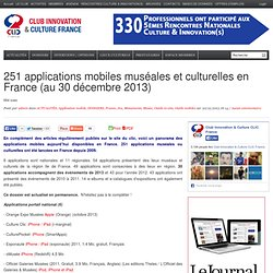 263 applications mobiles muséales et culturelles en France (au 29 avril 2014)