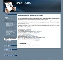 Applications pour débuter avec le iPad - iPad CSRS