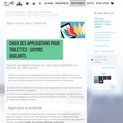 Choix des applications pour tablettes : Soyons vigilants - Délégation académique au numérique éducatif