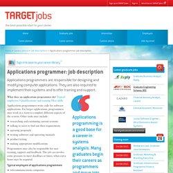 Applications programmer: job description