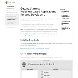 Getting Started: WebView-based Applications for Web Developers