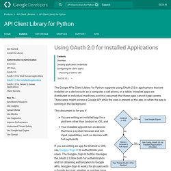 Using OAuth 2.0 for Installed Applications