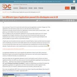 Les différents types d'applications pouvant être développées avec le C#