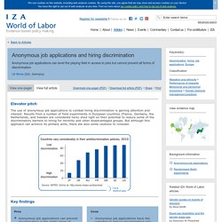IZA World of Labor - Anonymous job applications and hiring discrimination