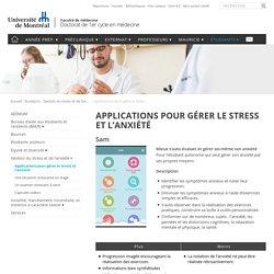 Applications pour gérer le stress et l'anxiété - Doctorat de 1er cycle en médecine