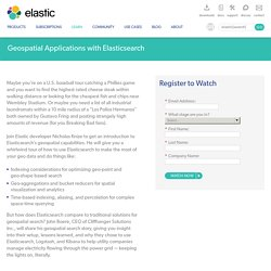 Geospatial Applications with Elasticsearch