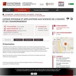 Licence Physique et Applications aux Sciences de l'Univers et de l'Environnement - Université Fédérale Toulouse Midi-Pyrénées