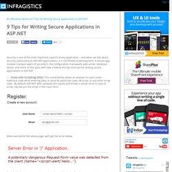 9 Tips for Writing Secure Applications in ASP.NET - User Experience Guidance